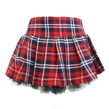 PLUS Sz Women's Sexy Schoolgirl Skirt Red Plaid Pleated Naughty Britney Costume