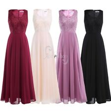 Women Ladies Chiffon Long Evening Dress Bridesmaid Wedding Cocktail Formal Gown