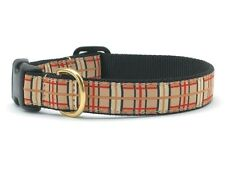 Dog Puppy Design Collar - Up Country - Made In USA - Plaid Tan - Choose Size
