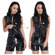 Women's PVC Wet Look Leather Catsuit Jumpsuit Bodysuit Nightclub wear Lingerie