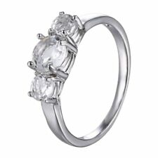 Fashion Women Lady Silver Clear CZ Cubic Zirconia Band Ring Wedding Jewelry Gift