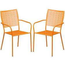 Tiffany Orange Stackable Patio Arm Chairs