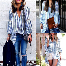 Boho Womens V Neck Loose Long Sleeve Casual Blouse Shirt Tunic Tops Blouse