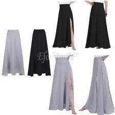 Womens Front Side Split Maxi Long Skirt Ladies Chiffon Bridesmaid  Dress Party