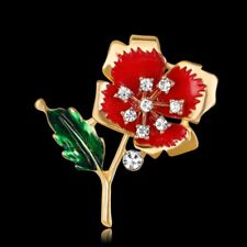 Women Gold Plated Crystal Rhinestone Enamel Flower Brooch Pin Bouquet Jewelry