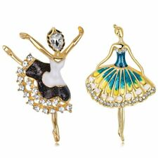 Charm Gold Dancer Girl Crystal Brooch Pin Costume Broach Women Christmas Jewelry