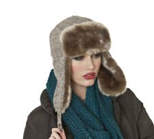 Womens Faux Fur Trim Knitted Trapper Warm Winter Thermal Hat Gwen