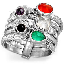 Stacking Bands Ring Solid 925 Sterling Silver Carnelian Moonstone Gemstone Size