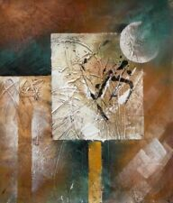 Aurora Abstract Stretched Canvas Wall Art Hand Painted Beige Oil Painting
