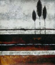 Striations Abstract Slender Stretched Canvas Trees Painted White Oil Painting