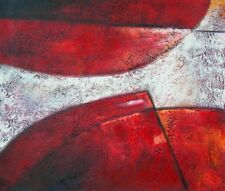 Candy Apple Abstract Shapes Hand Painted Stretched Canvas Art Red Oil Painting
