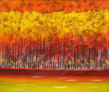 Autumn Fall Birch Tree Stretched Canvas Art Hand Painted Warm Color Oil Painting