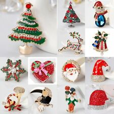 Charm Christmas Tree Deer Santa Claus Crystal Brooch Pin Holiday Custome Jewelry