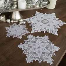 Snowflake Doily for Christmas and Winter Decor, Choice of Two Sizes, White Lace