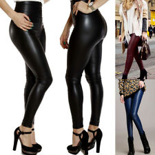 Hot Faux Leather Ankle Length Trousers Skinny High Waist Leggings Pants Trousers