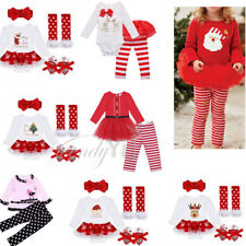 My 1st Christmas Newborn Girl Baby Clothes Christmas Top Pants Tutu Dress Outfit