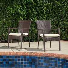 Corsica Outdoor Wicker Dining Chair with Cushion (Set of 2) by Christopher