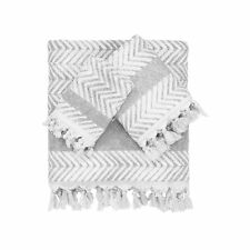 Authentic Hotel and Spa Anya Dove Grey Turkish Cotton Textured Weave Bath Towels