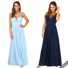 Womens Ladies Embroidered Beaded Mesh V Neck Evening Prom Cocktail Maxi Dress
