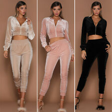 Women Long Sleeve Velvet 2PC Set Slim Short Crop Top Pant Casual Tracksuit