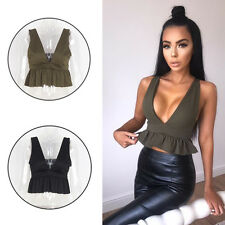 Party Blouse Ladies Summer Crop Tops V Neck Frill New Womens