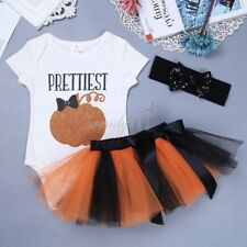 Girls 3 Piece 1st Halloween Pumpkin Single Ruffle Outfit Dress Baby Kids Clothes