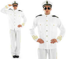 Mens White Navy Officer Fancy Dress Costume Military Uniform Sailor Outfit M-XL