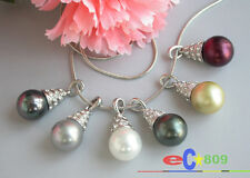 D0100 12MM round south sea shell pearl chain necklace pendant