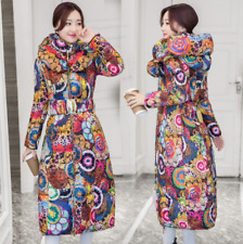 Womens Floral Belt Trench Outwear Jackets Long Down Hooded Coats Slim Winter