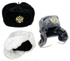 Hat USHANKA Russian Military Army w/Imperial Eagle Crest  Pin Badge