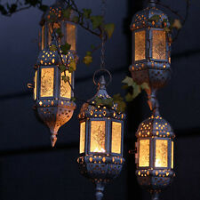 Retro Vintage Moroccan Hanging Glass Lantern Tea Light Candle Holder Party Decor