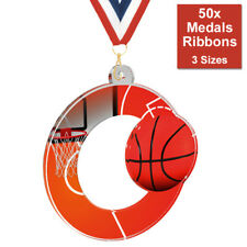 PACK OF 50x BASKETBALL UNIQUE MEDALS PRINTED ACRYLIC WITH RIBBON 3 SIZES & BIG!