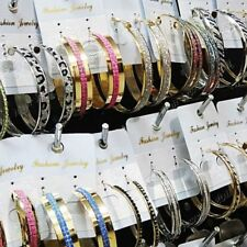 Mix 12Pairs/24pairs Big Frosted Silver Gold Hoop Earrings Wholesale Jewelry Lots