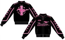 2017 Ford Mustang Ladies Jacket Pink Collage Logos Black Twill Jacket JH Design