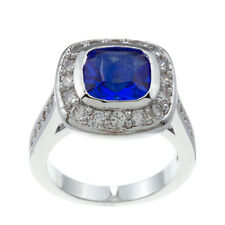 Kate Bissett Silvertone Blue and Clear Cubic Zirconia Cocktail Ring