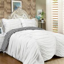 Isabella 3 Piece Reversible Ruched Comforter Set