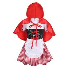 Toddler Infant Baby Girl Plaid Dress Halloween Costume & Cape Cosplay Outfit Set