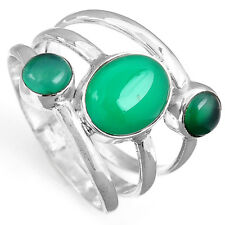 Women Solid 925 Sterling Silver Ring Nutural Green Onyx Gemstone Size 6 7