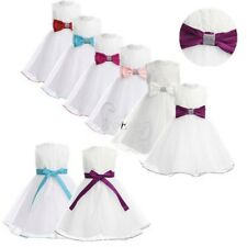Baby Kids Communion Formal Party Christening Gown Wedding Flower Girl  Bow Dress