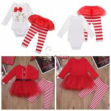 Newborn Baby Girl Long Sleeve Christmas Santa Romper Tulle Dress Outfits Costume