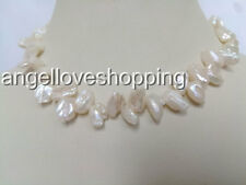 teeth side drilled genuined cultured freshwater pearl choker necklace USA BY EUB