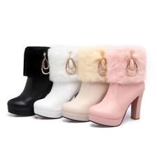 Hot Womens Faux Leather Warm High Heels Rhinestone Ankle Boot Shoes Pumps Zipper