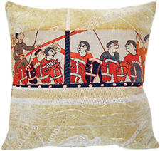 Damask Drakkar Bayeux French Tapestry Cushion Pillow Cover - 18 x 18 - NEW