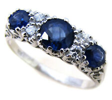 9ct Solid White Gold Sapphire & Diamond Ring R75 Custom
