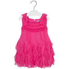 Mayoral Little Girls 2T-9 Pink Cascade Ruffle Social Party Dress, Fuchsia