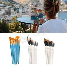 12Pcs Nylon Hair Acrylic Watercolor Round Pointed Tip Artists Paint Brush Set