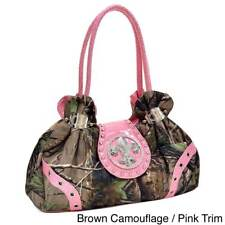 Realtree Women's Studded Camouflage Satchel Bag with Rhinestone Fleur De Lis
