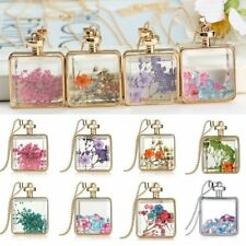 Natural Dried Flower Square Glass Locket Pendant Necklace Sweater Chain Jewelry