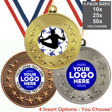 GYMNASTICS MALE METAL MEDALS, PACK OF 10,RIBBONS, INSERTS or OWN LOGO & TEXT