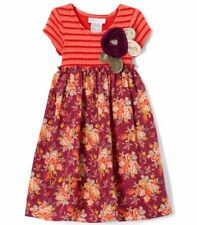 Girls BONNIE JEAN boutique dress 4 & 6 NWT spiral cloth flowers orange fall nice